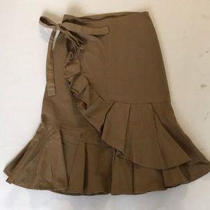 Faux wrap utility style khaki skirt
